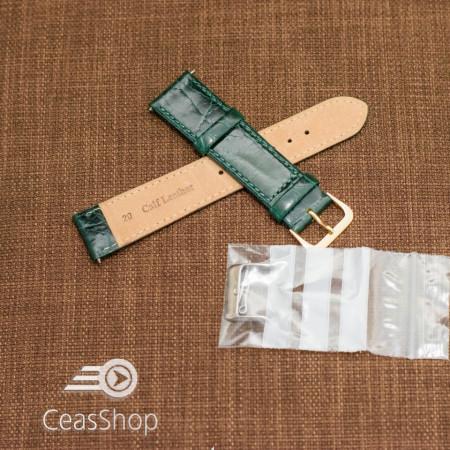 Curea piele vitel plata model crocodil Elegance verde 18mm - 34506
