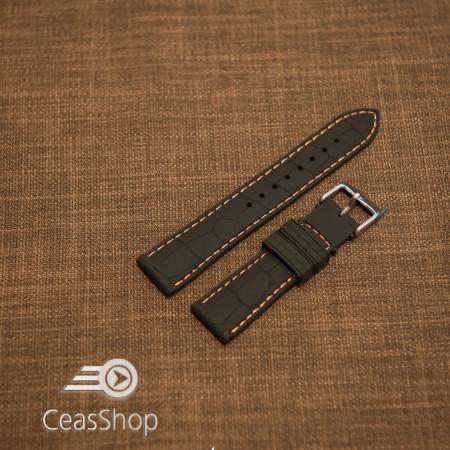 Curea silicon model crocodil neagră cusătură portocalie 22mm - 45897