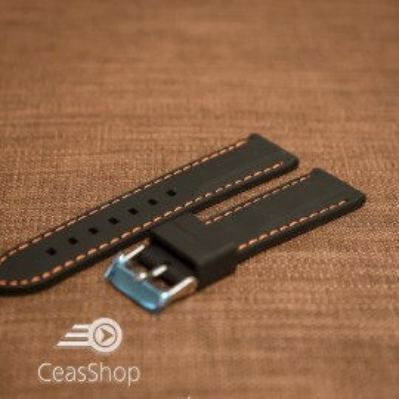 Curea silicon neagră cusături portocalii 26mm - 42299