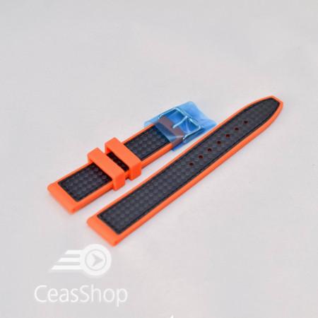 Curea silicon sport fibra carbon portocalie cu negru 20mm - 38119