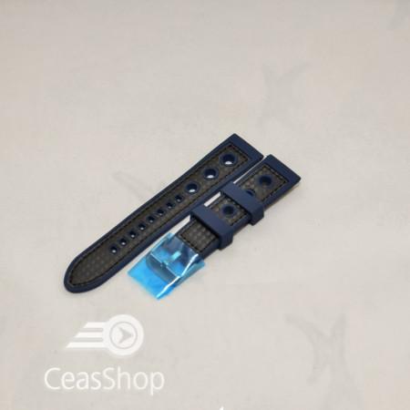 Curea silicon sport GRAND PRIX navy cusaturi negre 20mm - 38142