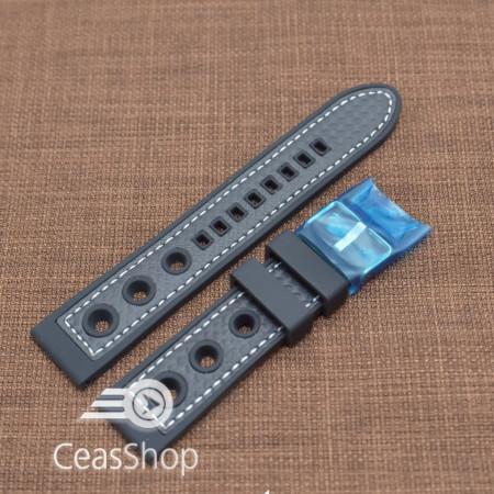 Curea silicon sport GRAND PRIX neagra cusaturi albe 24mm - 38139
