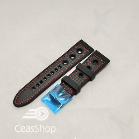 Curea silicon sport GRAND PRIX neagra cusaturi rosii 22mm - 38136