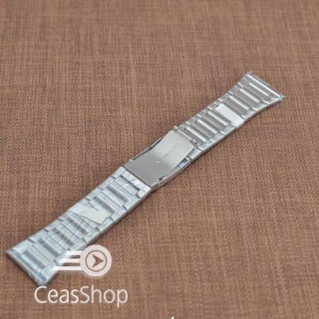 Bratara metalica argintie cu buton lateral 28mm - 37526