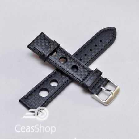 Curea piele GRAND PRIX fibra carbon neagra CN 24mm - 38220