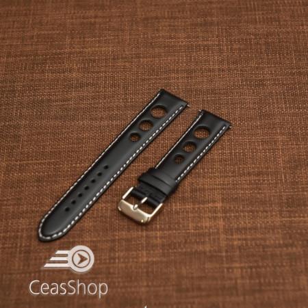 Curea piele lină, căptușită GRAND PRIX neagră, cusaturi albe 24mm - 46320