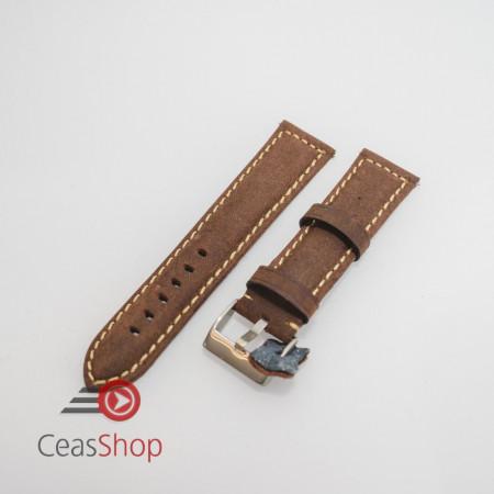 Curea piele maro inchis vintage QR 24mm - 3960224
