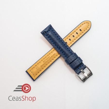 Curea piele tip fibra carbon albastra, cusătură albastră, căptușită 18mm - 374185