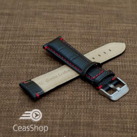 Curea piele vitel model crocodil cusaturi rosii 18mm- 38179