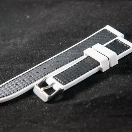 Curea silicon sport fibra carbon alba cu negru 24mm - 38173