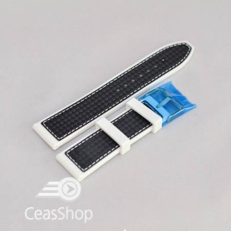 Curea silicon sport fibra carbon alba cu negru 24mm - 38174