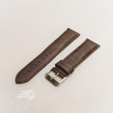 Curea model crocodil captusita pe jumatate maro inchis 22mm - 51494