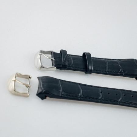 Curea piele capat curbat neagra 24mm - 43363