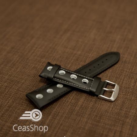 Curea piele GRAND PRIX captusită pe jumătate neagra cusaturi albe 24mm - 42199