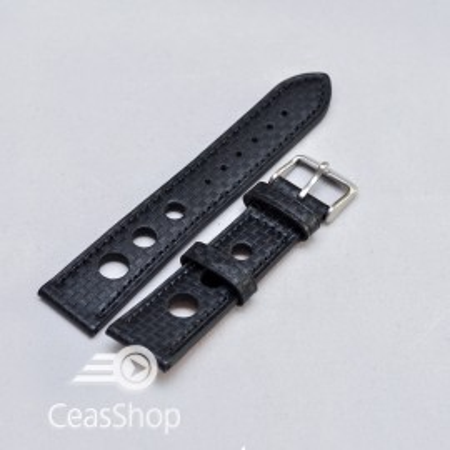 Curea piele GRAND PRIX fibra carbon neagra CN 22mm - 38219