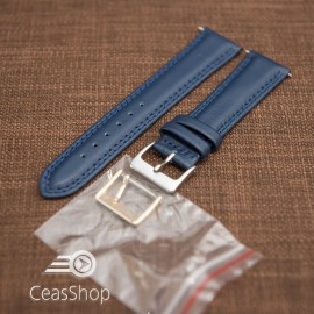 Curea piele lină, căptușită ,cusatură dublă albastră 18mm - 42850