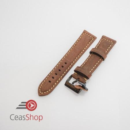 Curea piele maro inchis catarama neagra vintage QR 24mm - 3970224