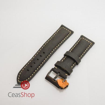 Curea piele neagra, catarama neagra vintage QR 22mm - 3970122