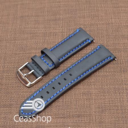 Curea piele neagra Mustang  mata,captusita, cusatura albastra 22mm - 40475