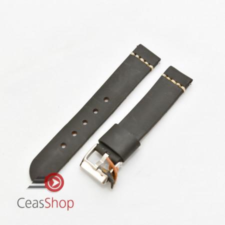 Curea piele neagra vintage cusatura alba QR 22mm - 3920122