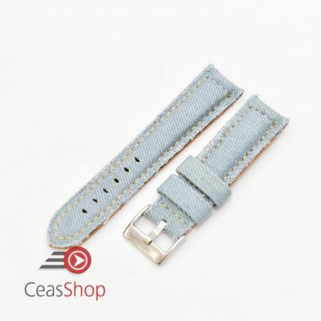 Curea piele si jeans căptușită albastru pal 18mm - 3891819