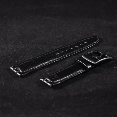 Curea piele tip Swatch 17 mm neagra - 31008