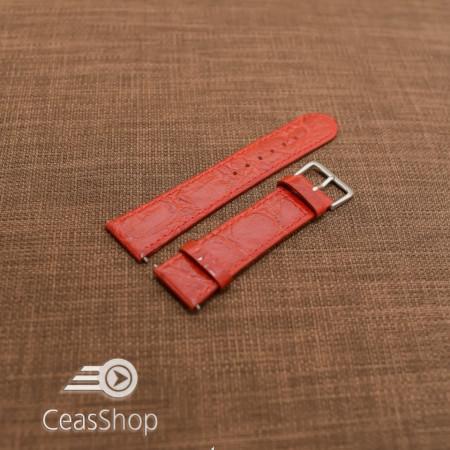Curea piele vitel plata model crocodil Elegance rosie 20mm - 34498