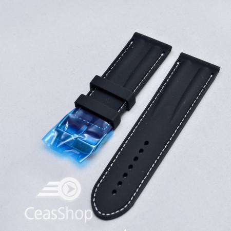 Curea silicon neagra cu cusaturi albe 26mm - 38250