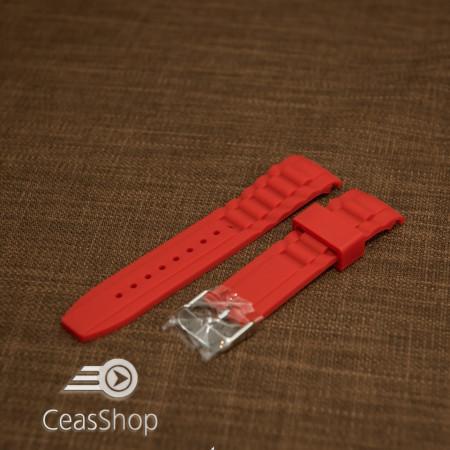 Curea silicon roșie capat curbat 20mm - 43404