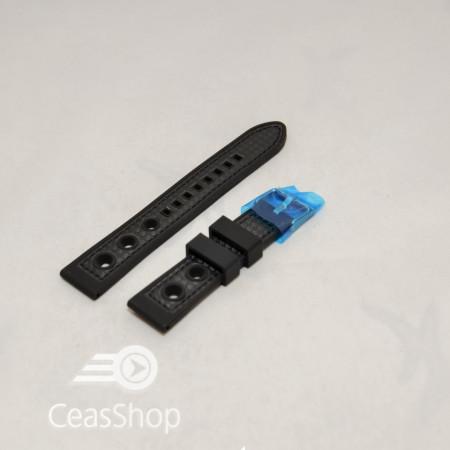 Curea silicon sport GRAND PRIX neagra cusaturi negre 22mm - 38134