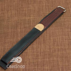 Curea din tesatura de nylon maro sport cu arici 18mm - 20449