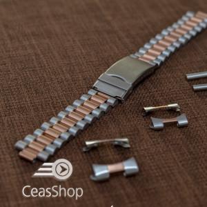 Bratara metalica reglabila bicolora aur roz capete curbate 18-20mm - 40014