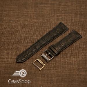 Curea crocodil veritabil , neagră, captusita cu finisaj mat 22mm - 33777