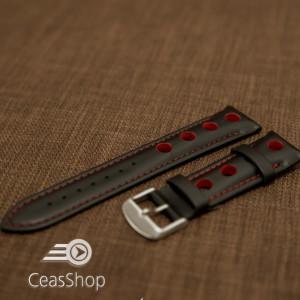 Curea piele GRAND PRIX captusită pe jumătate neagra cusaturi roșii 22mm - 42201