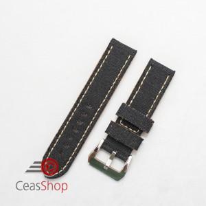 Curea piele si jeans neagră 22mm - 390221