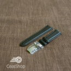 Curea piele vitel captusita deployant simplu neagra 20mm - 42866