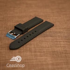 Curea silicon neagră cusături negre 22mm - 42279
