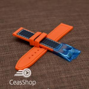 Curea silicon sport fibra carbon portocalie cu cusaturi albe 20mm - 38121