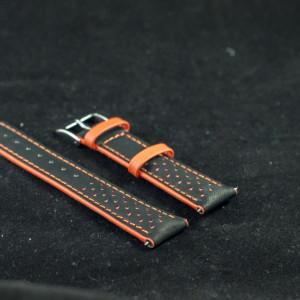 Curea sport doua tonuri neagra cu portocaliu, antialergica 18mm