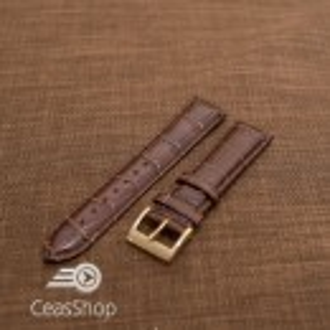 Curea piele vitel, model crocodil maro inchis,captusita, lucioasa  20mm - 34830