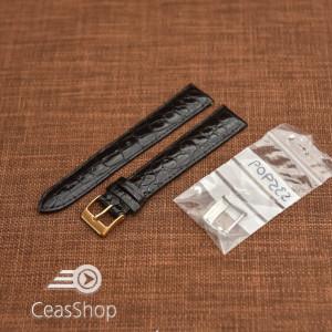 Curea crocodil veritabil , neagră, captusita cu finisaj lucios 18mm XL- 35909