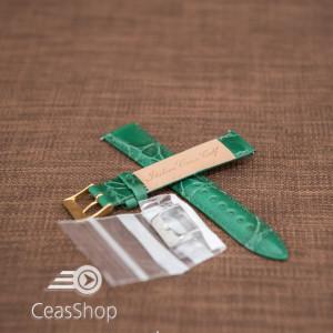 Curea model crocodil captusita verde finisaj lucios 18mm - 46376
