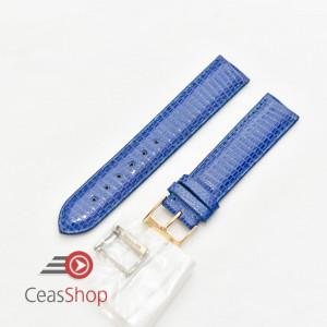 Curea piele de soparla captusita cu finisaj lacuit albastra 19mm - 43322
