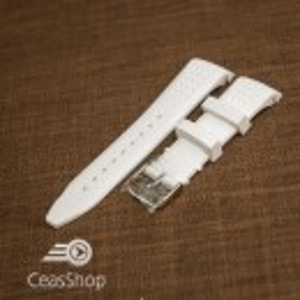 Curea silicon alba capat curbat 24mm - 43392