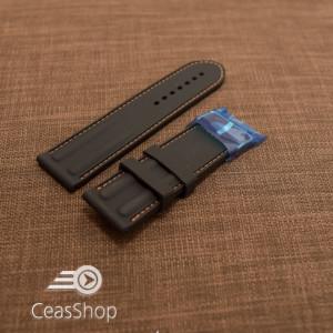 Curea silicon neagra cu cusaturi portocalii 26mm - 38248