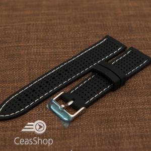 Curea silicon neagra cusaturi albe 20mm - 47785