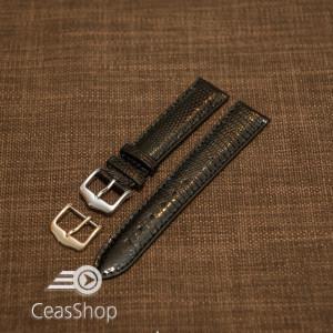 Curea sopârlă captusita cu finisaj lacuit, tip Omega, neagra 20mm-31178