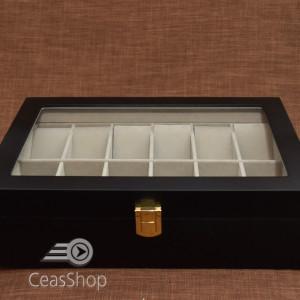 Cutie pastrare ceasuri lemn pentru 12 ceasuri neagră