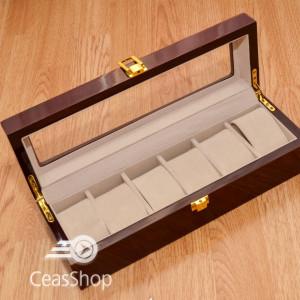 Cutie pastrare ceasuri lemn pentru 6 ceasuri