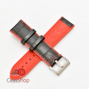 Curea hibrid silicon si piele model crocodil neagra cu rosu 22mm - 4205322